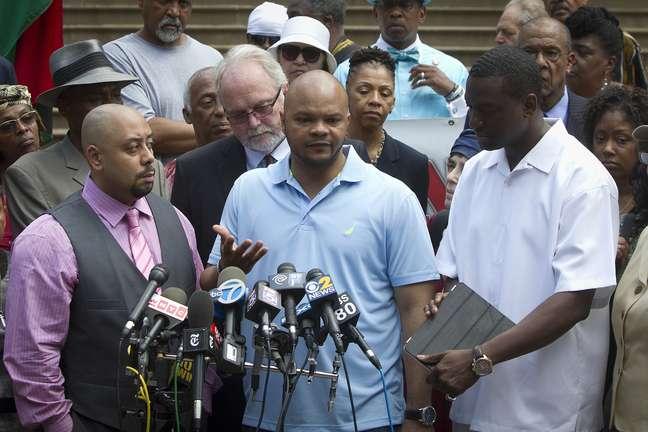 Raymond Santana, Kevin Richardson e Yusef Salaam concedem entrevista coletiva em Nova York 27/06/2014 REUTERS/Carlo Allegri