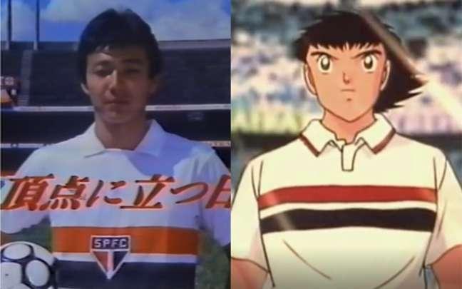 Musashi Mizushima e Oliver Tsubasa, protagonista do mangá e anime Super Campeões (Imagens: Reproduções)