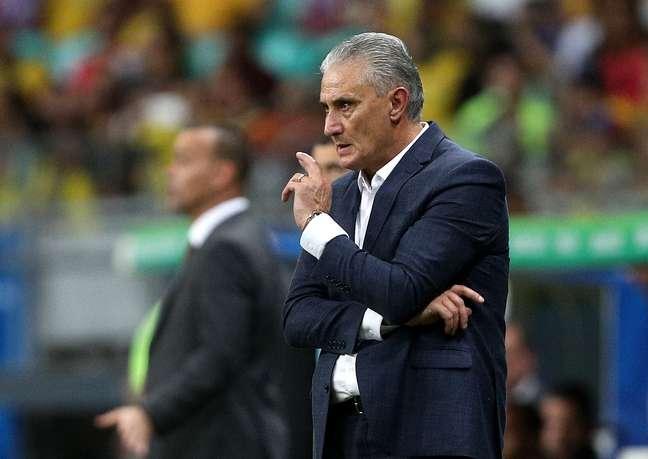 O técnico Tite, do Brasil, em partida contra a Venezuela, válida pela 2ª rodada do grupo A da Copa América 2019, realizada na Arena Fonte Nova, em Salvador (BA), nesta terça- feira (18).