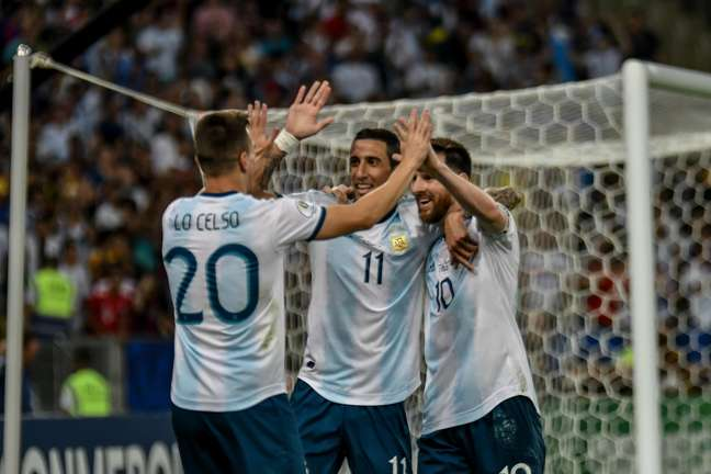 Lo Celso marca o segundo gol para os argentinos durante partida entre Venezuela x Argentina, válida pelas quartas de final da Copa América 2019, realizada nesta sexta-feira (28) no Estádio do Maracanã em Rio de Janeiro, RJ