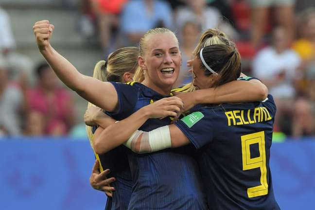 Suécia eliminou a Alemanha, bicampeã mundial feminina (Foto: LOIC VENANCE / AFP)