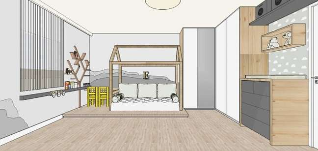 13. Cama montessoriana com almofadas. Projeto de Michelle Werlich Fonteles