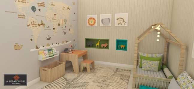 41. Neste quarto montessoriano, os móveis também são baixos, adaptados para crianças. Projeto de A Berardinelli Interiores