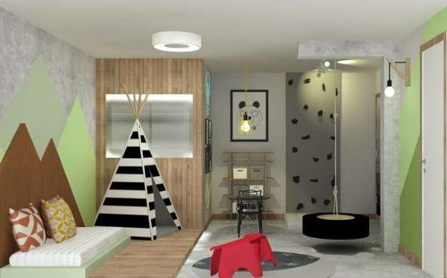 43. Cama montessoriana e tenda em quarto de menino. Projeto de GFT Arquitetura e Interiores