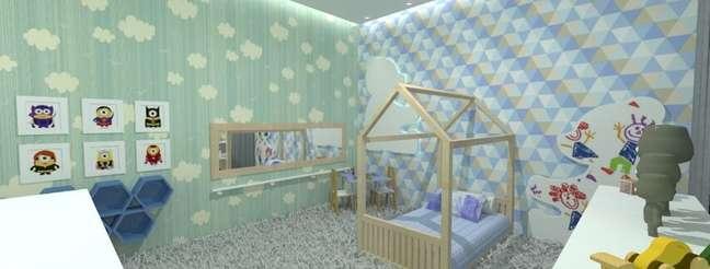 21. Cama montessoriana em quarto verde e azul. Projeto de Aline Oliveira