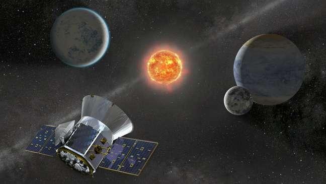 Ilustração do satélite Tess em busca de exoplanetas no espaço; missão deve ir pelo menos até 2022