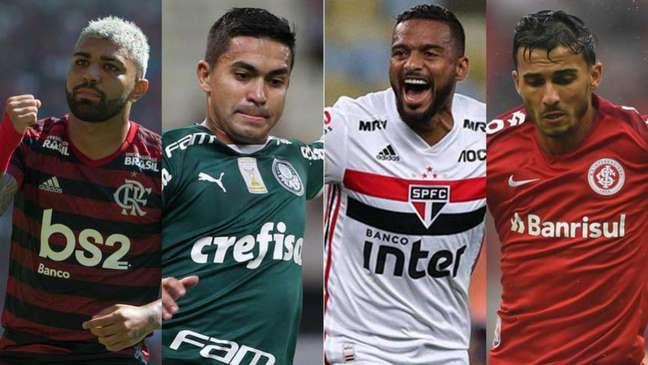 Jogos de Flamengo, Palmeiras, São Paulo e Internacional tiveram polêmicas com VAR (Foto:Montagem LANCE!)
