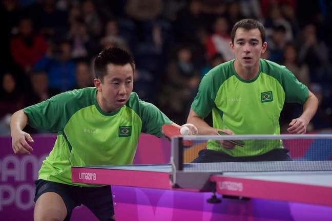 Hugo Calderano e Gustavo Tsuboi são ouro no tênis de mesa (Alexandre Loureiro/COB)