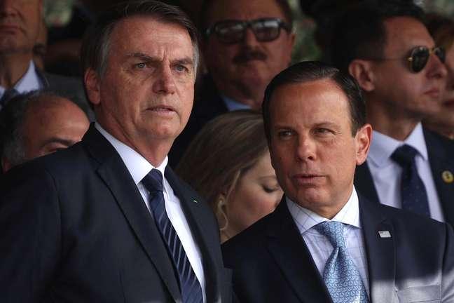 O presidente Jair Bolsonaro e o governador João Doria