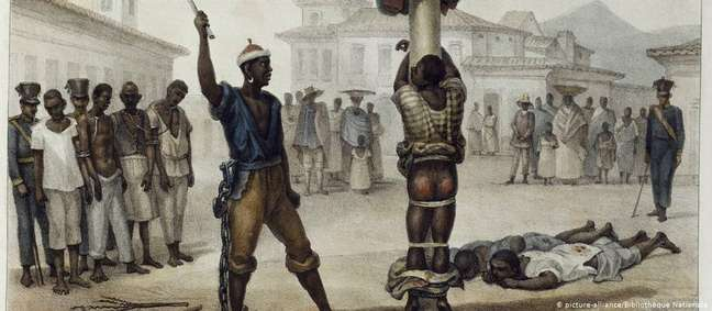 """""""Execução da punição de açoitamento"""", pintura do francês Jean-Baptiste Debret (1768-1848) mostra escravo sendo castigado no Brasil no século 19"""