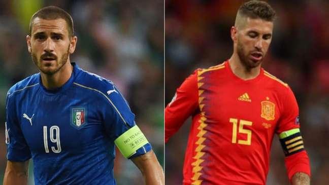 Itália, de Bonucci, enfrenta a Grécia, e a Espanha, de Sérgio Ramos, pega a Noruega (Foto: AFP)
