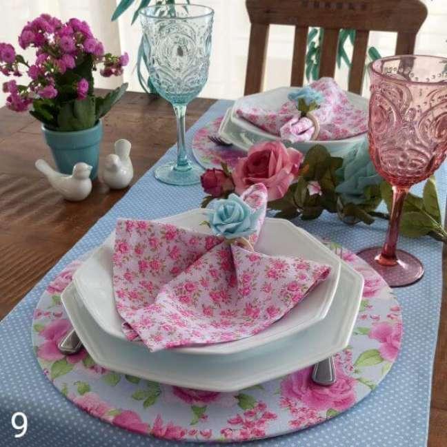 41. Guardanapo de tecido estampado para festa de casamento – Por: Mercado Livre