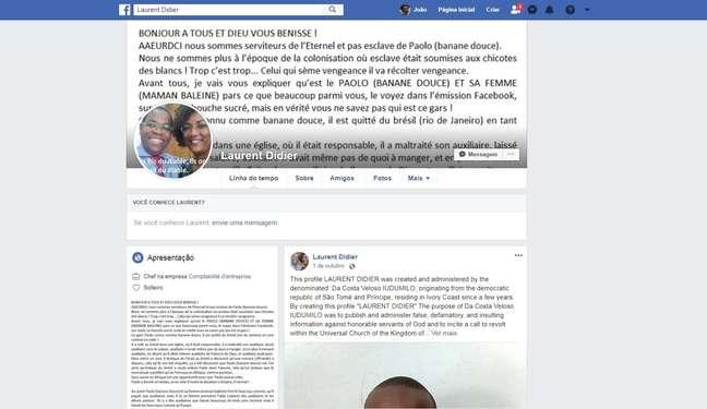 Perfil no Facebook no qual foram divulgadas mensagens críticas à Universal; pastor são-tomense diz que foi induzido a confessar a autoria dos textos na esperança de ser solto