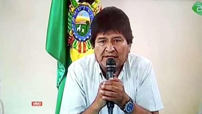 Presidente da Bolívia, Evo Morales, durante anúncio de renúncia em Cochabamba TV do Governo da Bolívia via REUTERS