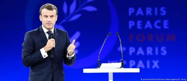 Macron discursou na abertura do Fórum da Paz, em Paris