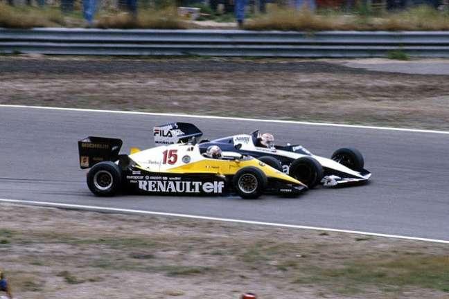Prost tira Piquet da pista no GP da Holanda de 1983.
