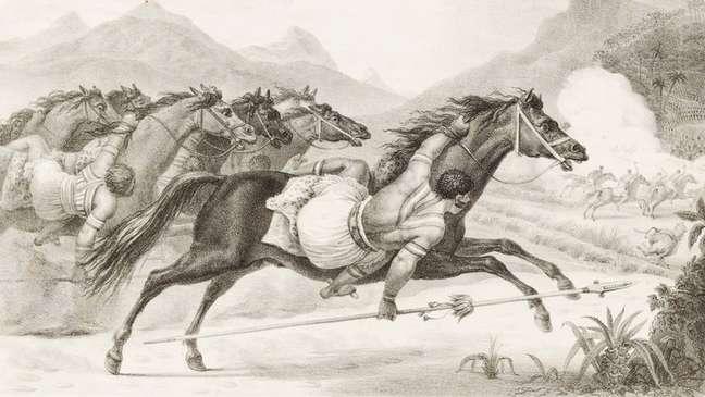 Obra de Debret mostra índios cavaleiros em ação   crédito: Jean-Baptiste Debret/Coleção Martha e Erico Stickel /Acervo Instituto Moreira Salles