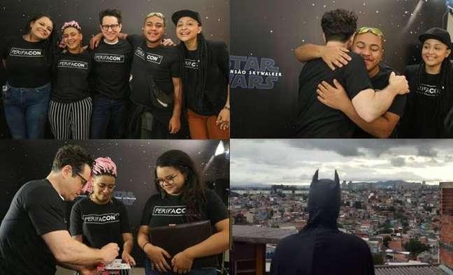 Encontro de J. J. Abrams com o quarteto fundador da PerifaCon. Na última foto, um jovem aparece vestido de Batman enquanto olha para o horizonte do Capão Redondo, periferia de São Paulo.
