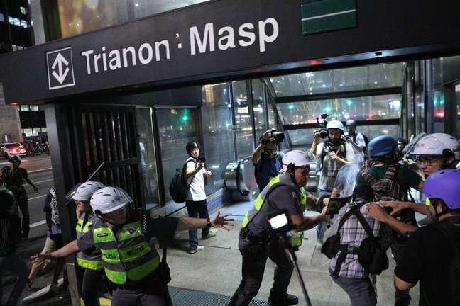 Ato teve confusão no metrô paulistano.
