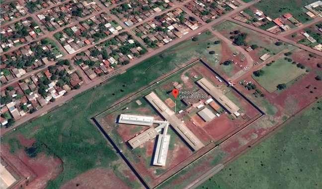 Vista aérea daPenitenciária Regional de Pedro Juan Caballero, na fronteira do Paraguai com o Brasil