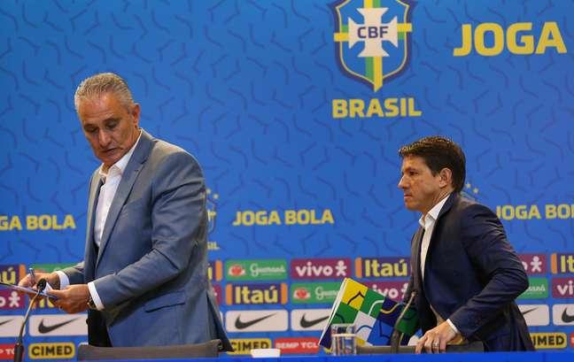 O técnico Tite e o coordenador da CBF, Juninho Paulista