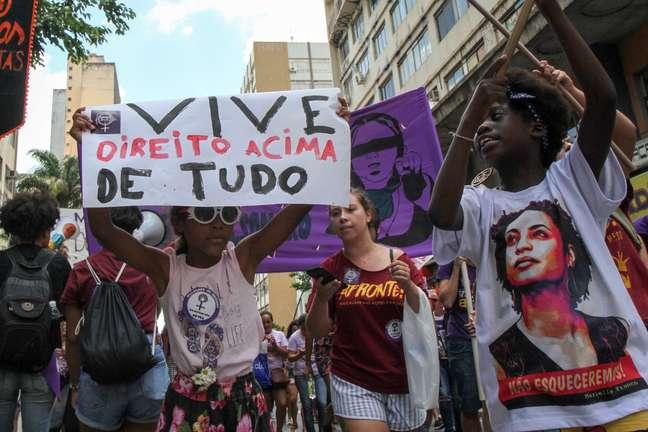 Mulheres realizaram um ato no centro de Campinas, interior de São Paulo, em luta pelo Dia Internacional da Mulher