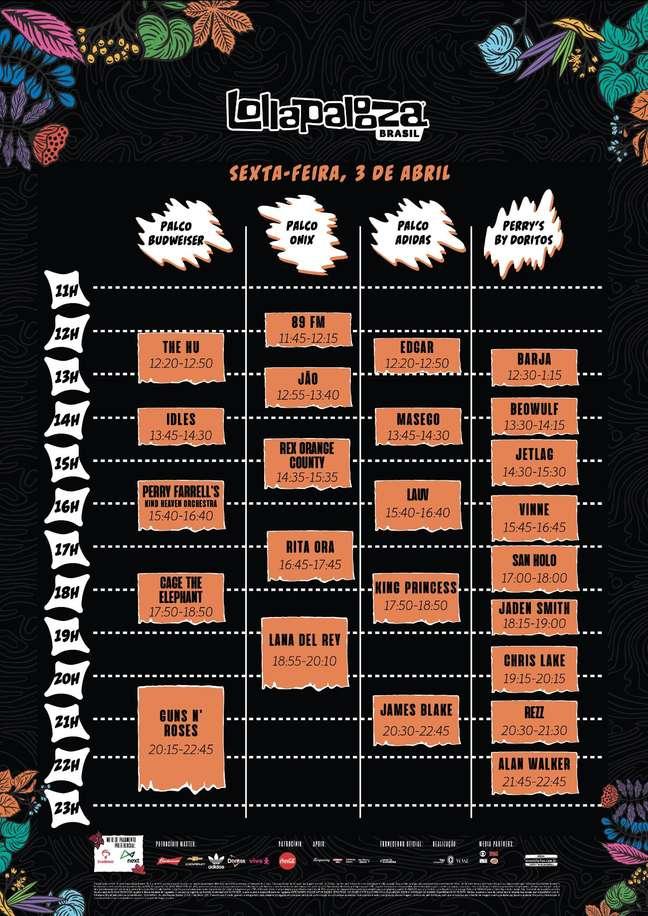 Lollapalooza divulga o horário dos shows nos três dias de festival