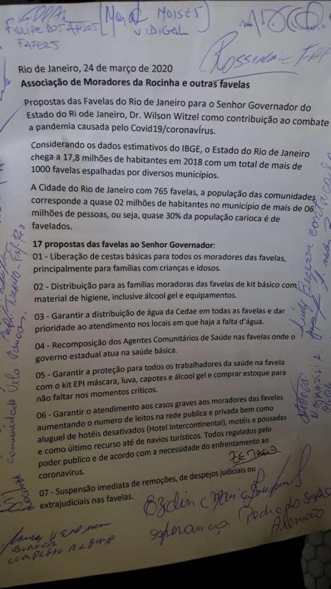 Associações de moradores apresentaram ao governador do Rio, Wilson Witzel, uma lista de propostas para o combate ao coronavírus nas favelas