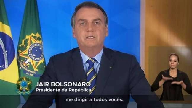 O presidente Jair Bolsonaro em pronunciamento nesta terça-feira, 31