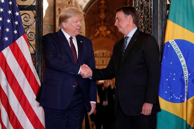 Presidente dos EUA, Donald Trump, e presidente Jair Bolsonaro em encontro na Flórida 07/03/2020 REUTERS/Tom Brenner