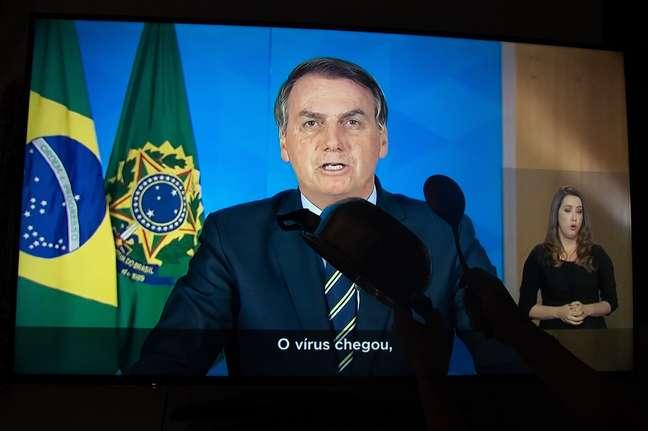 Jair Bolsonaro, durante o seu pronunciamento em rede nacional de rádio e TV, nesta terça-feira, 31