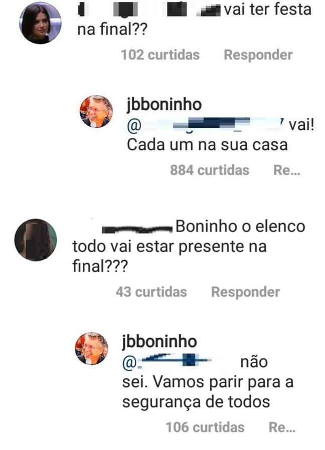 Boninho responde sobre a final do 'BBB 20' em seu Instagram.