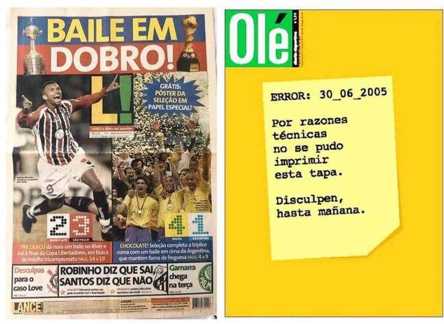 As capas do LANCE! e do Olé em 30 de junho de 2005 - FOTO: Arquivo