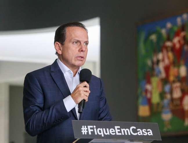Governador João Doria (PSDB) em coletiva no Palácio dos Bandeirantes