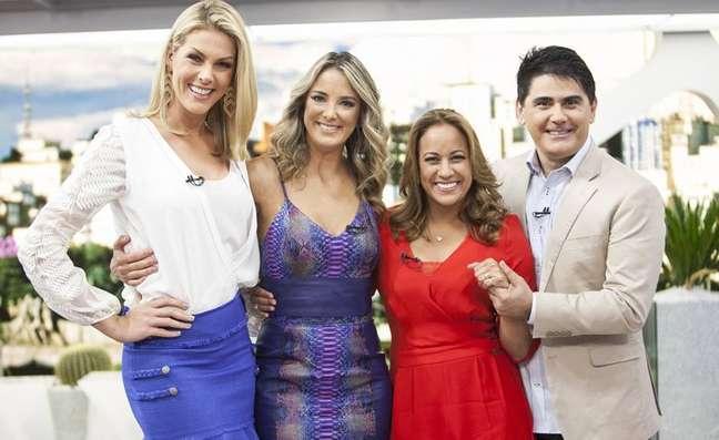 Os apresentadores do 'Hoje em Dia', Ana Hickmann, Ticiane Pinheiro, Renata Alves e Cesar Filho