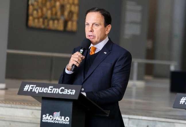 O governador de São Paulo, João Doria (PSDB), em entrevista coletiva nesta sexta, 8