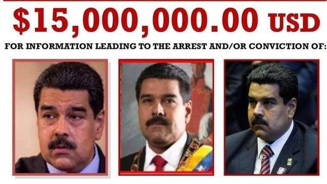 O Departamento de Estado dos EUA anunciou uma recompensa de US$ 15 milhões por informações que levem à prisão de Maduro.