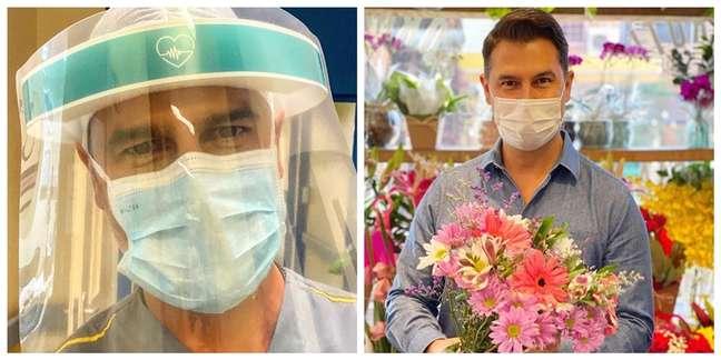 O médico vestido para encarar o centro cirúrgico e em post de homenagem às mães