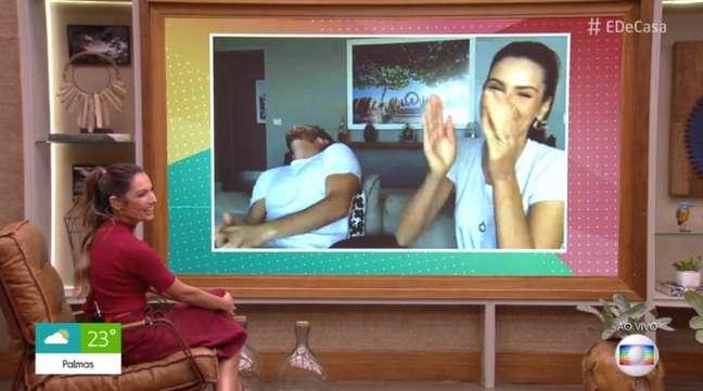 Klebber Toledo e Camila Queiroz com Patricia Poeta no 'É de Casa'