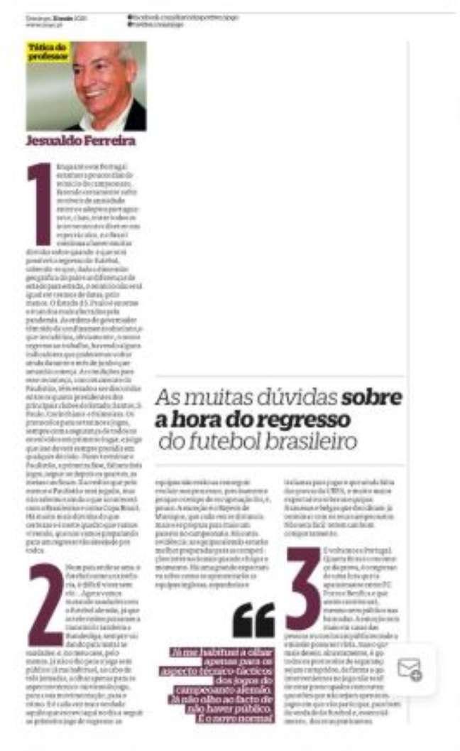 """Jesualdo escreve aos domingos em """"O Jogo"""", de Portugal (Foto: Reprodução)"""