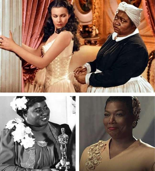 Acima, Mammy e Scarlett O'Hara em 'E o Vento Levou'; abaixo, Hattie ao receber o Oscar e Queen Latifah interpretando a atriz na minissérie 'Hollywood'