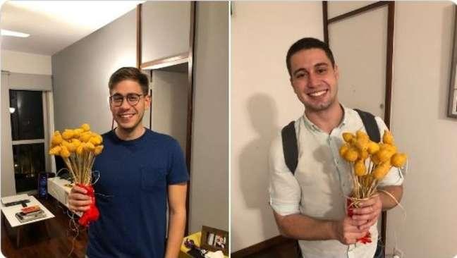Erick Rianellidesejou feliz Dia dos Namorados para Pedro Figueiredo ao vivo na Globo e em casa ganhou buquê de coxinha