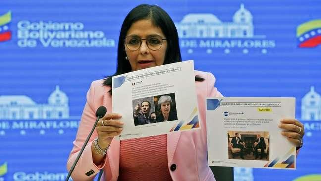 Delcy Rodríguez acusou a oposição de tentar interferir na tentativa da Venezuela de recuperar o ouro.