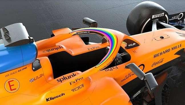 McLaren com novo adesivo como símbolo de combate à homofobia