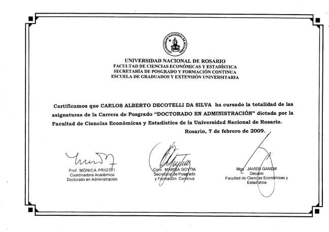 Certificado do ministro da Educação, Carlos Alberto Decotelli, na Universidade Nacional de Rosário