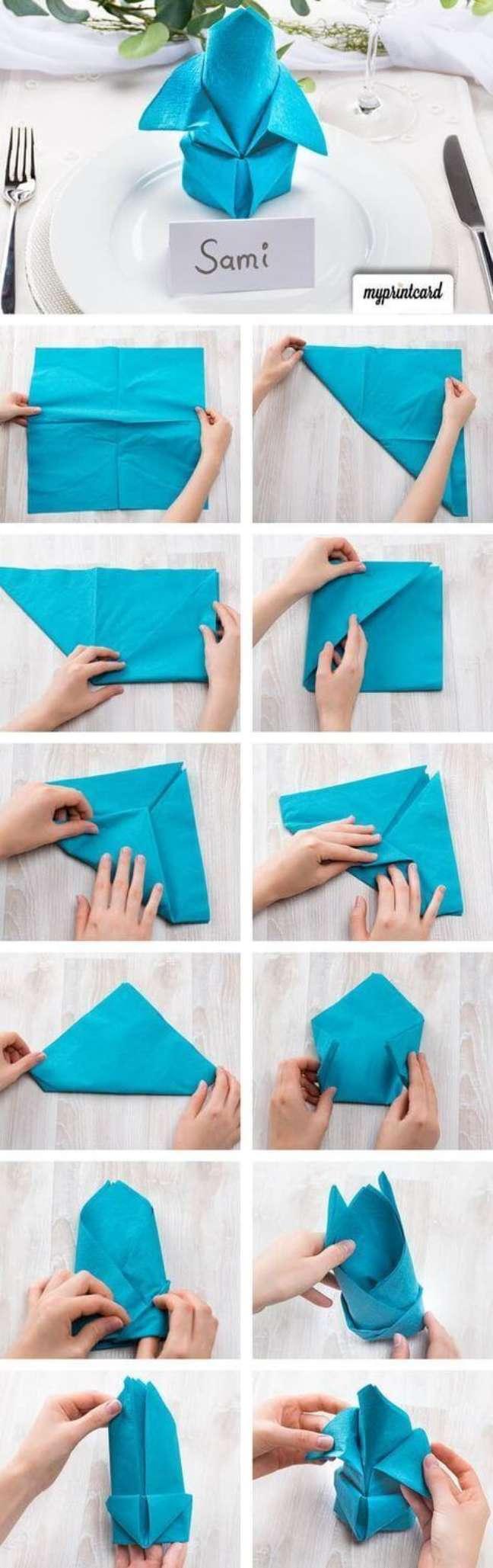 33. Tutorial como dobrar guardanapo de pano – Via: Pinterest