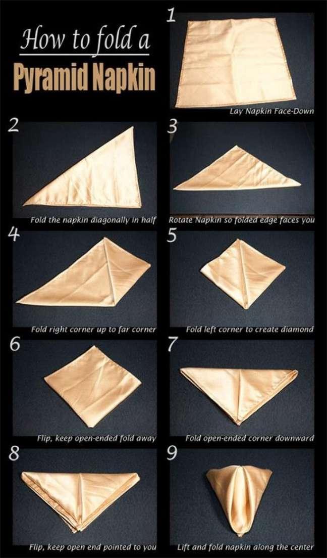 7. Como dobrar guardanapo pirâmide – Via: Pinterest