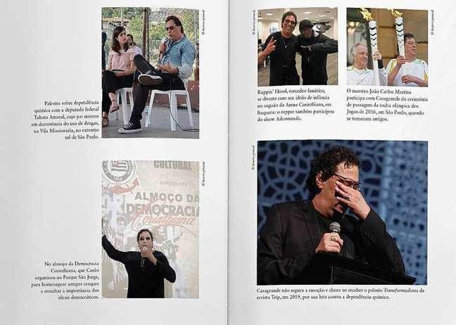 Fotos do livro Travessia, que conta a história de Walter Casagrande