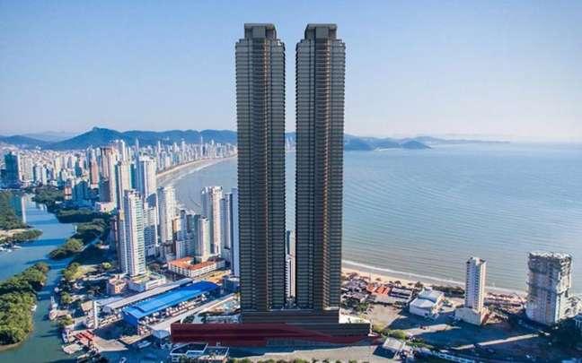 Foto externa do residencial mais alto da América do Sul (Foto: Divulgação)