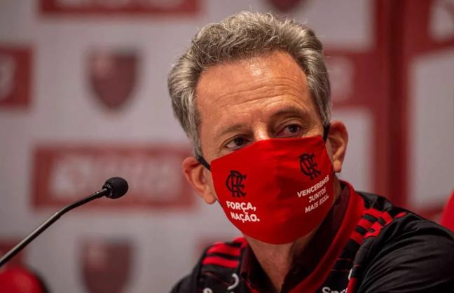Presidente do Flamengo, Rodolfo Landim, ficou entre a cruz e a espada com a briga na Justiça comum pela disputa ou não do jogo com o Palmeiras, no domingo (27)  (Foto: Divulgação/Marcelo Cortes)